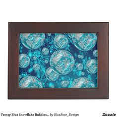 Shop Frosty Blue Snowflake Bubbles Keepsake Box created by BlueRose_Design. Wooden Keepsake Box, Keepsake Boxes, Mahogany Color, Black Velvet, Colorful Backgrounds, Snowflakes, Bubbles, Artwork, Fabric