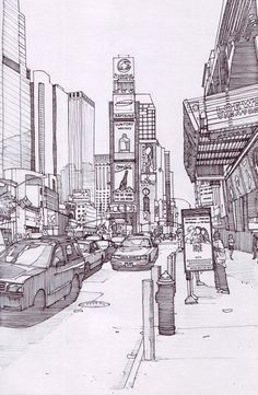 Times Square 2 New York by on DeviantArt New York Drawing, City Drawing, Sketchbook Drawings, Drawing Sketches, Art Drawings, New York City, Square Drawing, Times Square, City Sketch