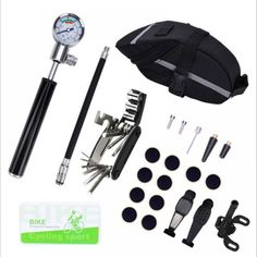Buy Bike Tire Repair Kit And Mini Bike Pump - Glueless Puncture Repair Kit For Presta And Schrader (Up To 210 PSI) With Pressure Gauge for Road Mountain And BMX Bikes Without the Need To Replace the Valve Kit, Bicycle Types, Bike Pump, Bike Tools, Tubeless Tyre, Bicycle Seats, Bmx Bicycle, Bike Bag, Bicycle Maintenance