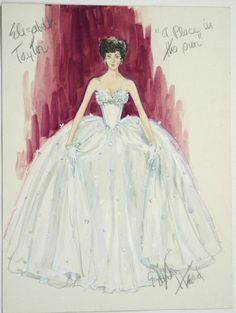 "Costume design by Edith Head for Elizabeth Taylor in ""A Place in the Sun"" (1951).  From Live Auctioneers"