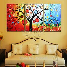 Find More Painting & Calligraphy Information about 3 Piece Hand Painted Palette Knife Colorful Tree Oil Painting Wall Art Canvas Picture Modern Abstract Home Decor Living Room Set,High Quality decorative tea set,China set case Suppliers, Cheap decorating tip sets from Eazilife Oil Painting on Aliexpress.com