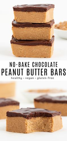 This no bake chocolate peanut butter bars recipe is healthy vegan gluten-free and so easy to make! They are soft sweet and so delicious. These low carb dessert bars are made with 6 ingredients and ready in 30 minutes. Dessert Bars, Bon Dessert, Oreo Dessert, Gluten Free Peanut Butter, Healthy Peanut Butter, Peanut Butter Recipes, Coconut Flour Vegan Recipes, Gluten Free Baking Recipes, Nutter Butter