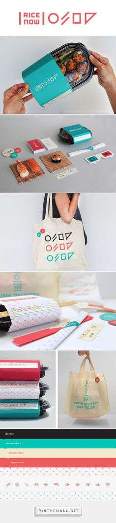 Rice Now Sushi Delivery packaging branding on Behance by Bienal Comunicación curated by Packaging Diva PD. Born from the idea of creating the very first sushi delivery in Merida, Yucatan. Tools used: Ai