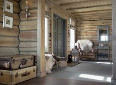 Lighter hewn color, note rectified stone floor, worn leather