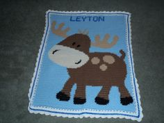 Personalized Moose Afghan by ChrisCreatesCrafts on Etsy, $50.00