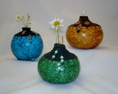 Trio with coiled tops Gourd Art Gallery - Art of Critter Ridge