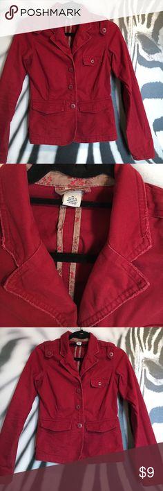 """Old Navy jacket Old Navy 100% cotton lightweight jacket. Perfect for spring and fall weather. Size XS. Adorable button detailing and light distressing on the hem. Beautiful maroon color complements any outfit. No missing buttons. No stains, tears or odors. Measures approx 21.5"""" in length. Old Navy Jackets & Coats"""