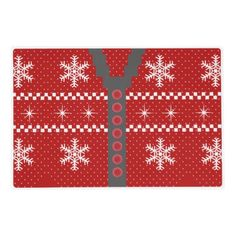 Ugly Christmas Sweater Reversible Design Laminated Placemats. Back of sweater on back of placemat. http://www.zazzle.com/ugly_christmas_sweater_reversible_design-256162635408871898?rf=238575087705003771