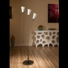 Stunning tulip standard floor light with white glass conical shades.  A truly stunning item with 3 beautiful conical glass shades and heavy nickel chrome base.  Made by Europe's top lighting manufacturer, please do not confuse with cheap Asian copies.