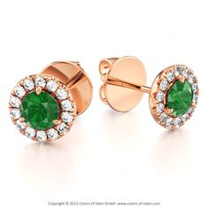 Just as planets circle around the sun, fourteen small gems circle around the large stone in the center. Presenting Martini earrings: Huge round Emerald + Round Diamonds + 14k Red Gold.