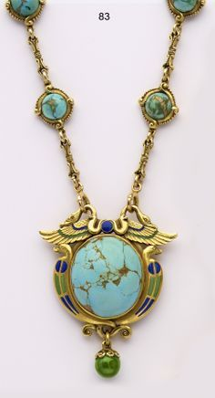 Necklace - Marcus & Co. Turquoise, enamel and carved gold Egyptian-revival necklace. Art Nouveau