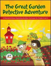 http://origin.www.fns.usda.gov/TN/Resources/gardendetective.html   Discover what fruits and vegetables are sweetest, crunchiest, and juiciest through a series of investigations and fun experiences connecting the school garden to the classroom, school cafeteria, and home. This eleven-lesson curriculum for 3rd and 4th grades includes bulletin board materials, veggie dice, fruit and vegetable flash cards, and ten issues of Garden Detective News for parents/caregivers.