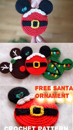 Santa Mouse Ears Free Crochet Pattern This awesome Christmas ornaments will look great on your Christmas Tree! Ornaments are the perfect, handmade addition for you to work up and add to your Christmas decorations. Children will love them from year to year Crochet Crafts, Crochet Toys, Crochet Projects, Free Crochet, Diy Crochet Ornaments, Mario Crochet, Crochet Ornament Patterns, Snowman Patterns, Knit Crochet