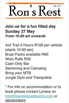 Don't forget our restaurant is open this Sunday! Day visitors welcome! Also any type of car can self-drive to Ron's Rest as the entrance is off the Beetgekraal road, hope to see you there! Jungle Gym, Self Driving, Don't Forget, Entrance, Sunday, Restaurant, Type, Car, Black