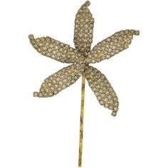 Jennifer Behr Gold Crystal Orchid Bobby Pin ($166) ❤ liked on Polyvore featuring accessories, hair accessories, jewelry, gold hair pins, jennifer behr, antique hair pins, flower hair accessories and bobby hair pins
