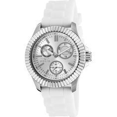 Invicta Watches Womens Angel Multi-Function Silicone Band Watch ($82) ❤ liked on Polyvore featuring jewelry, watches, white, invicta wrist watch, silicone jewelry, water resistant watches, invicta and white wrist watch