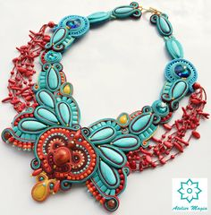 soutache necklace turquoise red necklace statement by AtelierMagia