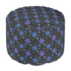Snowflakes Blue Purple on Black Round Pouf #Snowflakes #Purple #Pouf