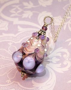 Lampwork Lavender Victorian Bauble Pendant by aStudiobytheSea #hudsonvalley