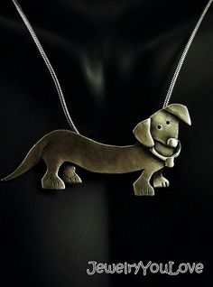 Sterling Silver Dachshund Necklace  DiDi