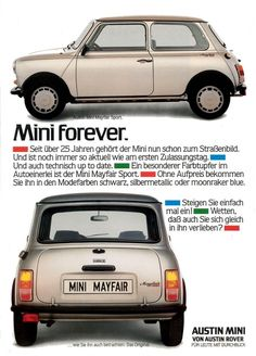 Austin Mini Mayfair Sport ad.
