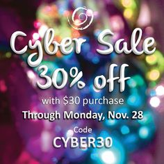 CYBER SALE on NOW thru Monday, Nov. 28  • 30% off your purchase of $30 or more - with discount code CYBER30 • Valid thru Monday, Nov. 28.   Handmade gifts: • Bracelets (for him & her) • Earrings • Amazing note cards & bookmarks • HandHug™ Tablet Grip too!
