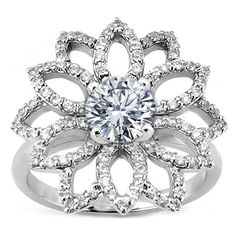 Round Diamond Flower Engagement Ring White Gold