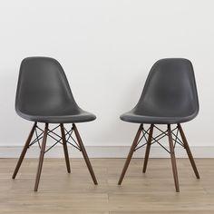 2 x (Pair) Herman Miller Vintage Original Eames Upholstered Grey/Black | Eames Chairs Authentic Original Vintage Furniture