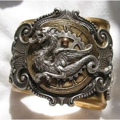 Steampunk Dragon Brass Cuff