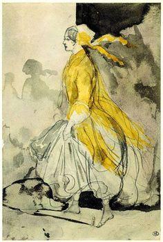 """Jeune Fille Retenant sa Jupe"" lavis de Constantin Guys (1802-1892)."