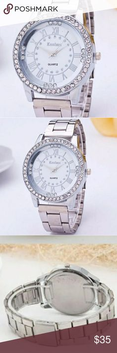 """STUNNING HIGH PROFILE WOMENS QUARTZ SILVER WATCH 100% brand new and high quality.  Quantity: 1PC  Gender: Women,Girl  Style: Casual  Movement: Quartz  Display: Analog  Band Material: Alloy  Case Material: Stainless Steel  Life Waterproof  Watchcase Diameter: 3cm/12""""  Band Length: 24cm/9.4""""  Band Width: 2.0cm/0.8""""  Color: Silver SM LUXURY FASHION Accessories Watches"""