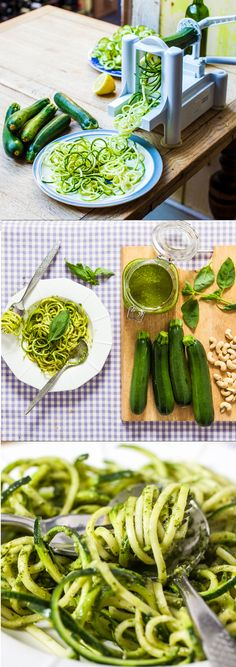 Courgetti Pesto (spaghetti made from courgettes) Clean Recipes, Raw Food Recipes, Vegetable Recipes, Vegetarian Recipes, Cooking Recipes, Healthy Recipes, Healthy Meals, Courgetti Spaghetti, Spiralizer Recipes