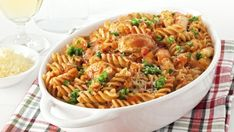 What's more comforting than pasta? Pasta that's loaded chicken, shredded mozzarella and baked! This gluten-free meal serves so invite the family to enjoy. Chicken And Chorizo Pasta, Turkey Pasta, Chicken Pasta Bake, Spinach Stuffed Chicken, Cheesy Chicken, Buffalo Chicken, Tomato Pasta Bake, Cheesy Pasta Bake, Baked Pasta Recipes