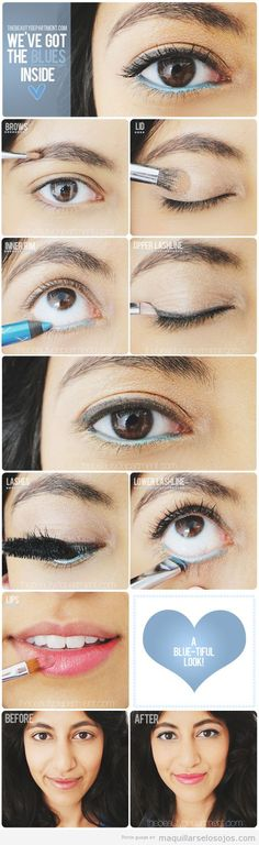 Create this beautiful look with blue eyeliner