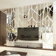 Geometric Puzzle Irregular Mosaic Acrylic Stereo Back Ground Ceiling Mirror Sticker Creative Large Decoration Wall