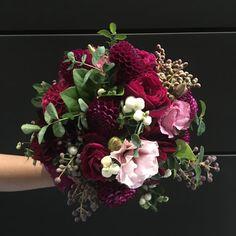 bold toned bridal bouquet. | by Flower Jar