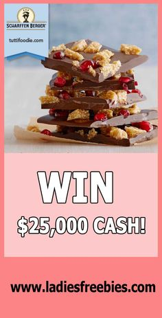How do you like chocolate? And cash? And cashwin with chocolate? Win $25,000 Cash with tuttifoodie on ladiesfreebies.com!  #freecash #sweepstakes #giveaway Like Chocolate, Free Things, Food Pictures, Cooking Tips, Giveaway, Good Food, Just For You, Foods, Make It Yourself