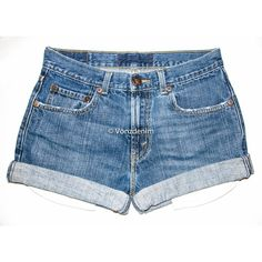 Vintage High Waisted Denim Shorts, Cuffed/Un-Cuffed Shorts, Plus Size... (395 MAD) ❤ liked on Polyvore featuring shorts, high rise denim shorts, denim shorts, high-waisted shorts, plus size high waisted shorts and high rise jean shorts