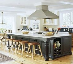Love the hood, overhang for bar stools, and side storage.
