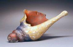 "sahara and orange shell by Thomas Spake Glass ~ 6"" x 9"""