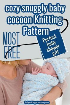 Baby Cocoon knitting patterns for baby's comfort. Keep baby snuggly warm and comfortable while sleeping or cuddling. Perfect as a gift or for your own baby. Knitting Basics, Knitting Help, Knitting Projects, Baby Knitting Patterns, Baby Patterns, Baby Cocoon Pattern, Baby Bunting, Beautiful Baby Shower, Baby Comforter