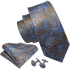 c4220f2ed5471 Cravate de costume de Paisley bleu luxueux 100% soie hommes cravate pour  les affaires de