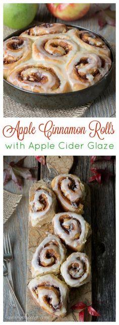 Apple Cinnamon Rolls with an Apple Cider Glaze - not too sweet but great apple flavor!  | www.savingdessert.com
