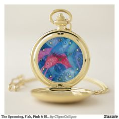 The Spawning, Fish, Pink & Blue, Underwater Pocket Watch
