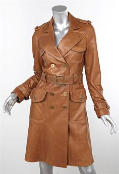 Brown Leather Trench Coat Womens