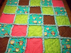 Handmade Baby Rag Quilts Owls Teal Brown by LoveableQuiltsNMore