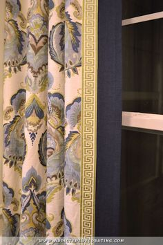 This ordinary pattern gets a high-end boost from the greek key trim & solid navy border. The trim is neat for the style in the room Curtains And Draperies, Drapery Panels, Valances, Curtain Trim, Short Curtains, Cornices, Bedroom Curtains, Window Curtains, Large Window Treatments
