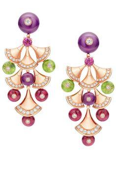 Amethyst, rubellite, peridot, diamond and yellow gold earrings from the Bulgari Bvlgari Diva collection