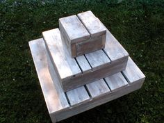 Rustic Cupcake/Cake Stand-Recycled Barn Wood-Country Wedding We could make these out of pallets instead of using crates...