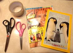DIY Stickers made with clear packing tape, magazines, and warm water